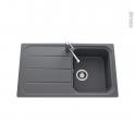 Evier de cuisine - FUGUE - Granit gris - 1 bac égouttoir - à encastrer
