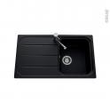 Evier de cuisine - FUGUE - Granit noir - 1 bac égouttoir - à encastrer