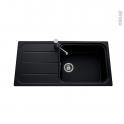 Evier de cuisine - FUGUE - Granit noir - 1 grand bac égouttoir - à encastrer