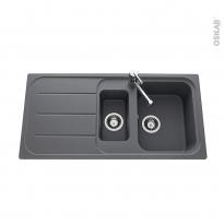 Evier de cuisine - FUGUE - Granit gris - 1,5 bacs égouttoir - à encastrer