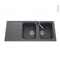Evier de cuisine - FUGUE - Granit gris - 2 bacs égouttoir - à encastrer