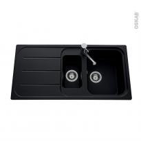 Evier de cuisine - FUGUE - Granit noir - 1 bac 1/2 égouttoir - à encastrer