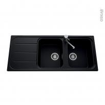 Evier de cuisine - FUGUE - Granit noir - 2 bacs égouttoir - à encastrer