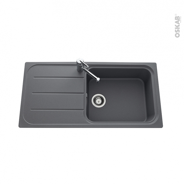 Evier de cuisine - FUGUE - Granit gris - 1 grand bac égouttoir - à encastrer