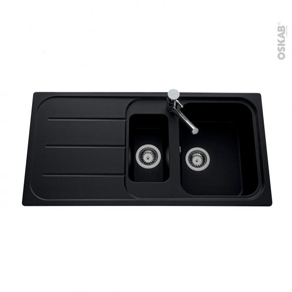 Evier de cuisine - FUGUE - Granit noir - 1,5 bacs égouttoir - à encastrer
