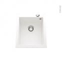 Evier de cuisine - GARDA - Granit blanc - 1 cuve carré 41 x 50 cm - à encastrer