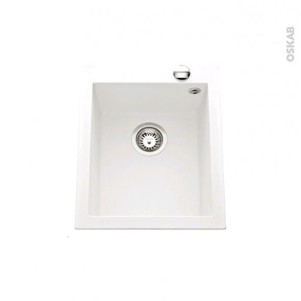 Evier GARDA - Granit blanc - 1 cuve carré 41x50 - à encastrer