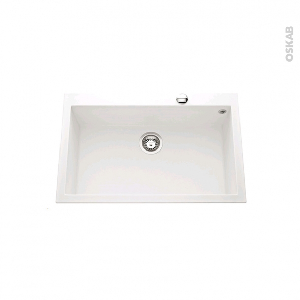 Evier de cuisine - GARDA - Granit blanc - 1 cuve carré 79 x 50 cm - à encastrer
