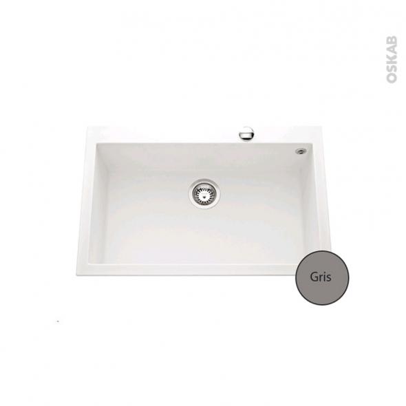 Evier de cuisine - GARDA - Granit gris - 1 cuve carré 79 x 50 cm - à encastrer