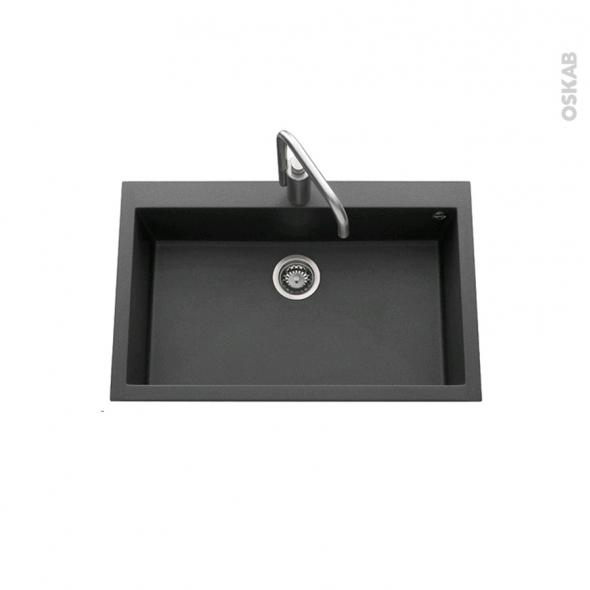 Evier de cuisine - GARDA - Granit noir - 1 cuve carré 79 x 50 cm - à encastrer