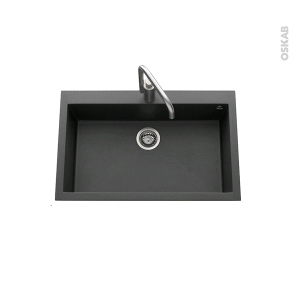 Evier GARDA - Granit noir - 1 cuve carré 79x50 - à encastrer