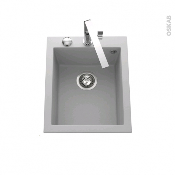Evier de cuisine - GARDA - Granit gris - 1 cuve carré 41 x 50 cm - à encastrer