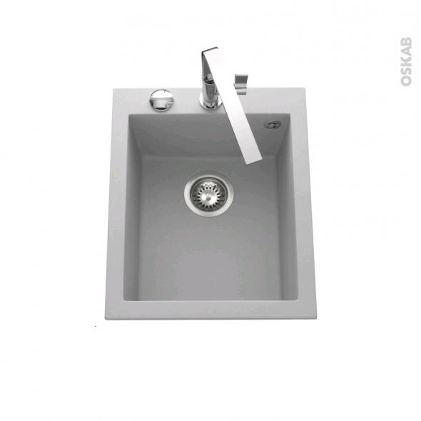 Evier GARDA - Granit gris - 1 cuve carré 41x50 - à encastrer