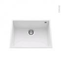 Evier de cuisine - GARDA - Granit blanc - 1 cuve carré 58 x 44 cm - Sous plan