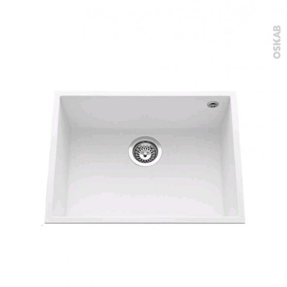 Evier GARDA - Granit blanc - 1 cuve carré 58x44 - Sous plan