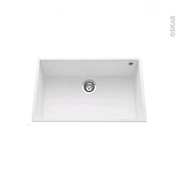 Evier de cuisine - GARDA - Granit blanc - 1 cuve carré 76 x 44 cm - Sous plan