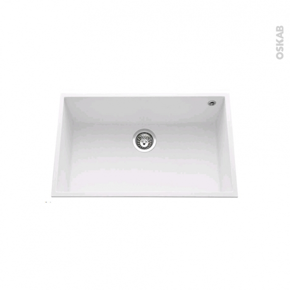 Evier GARDA - Granit blanc - 1 cuve carré 76x44 - Sous plan