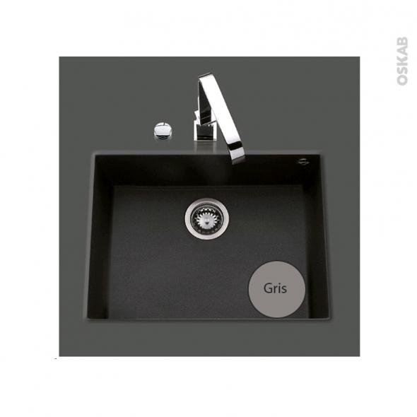 Evier de cuisine - GARDA - Granit gris - 1 cuve carré 58 x 44 cm - Sous plan