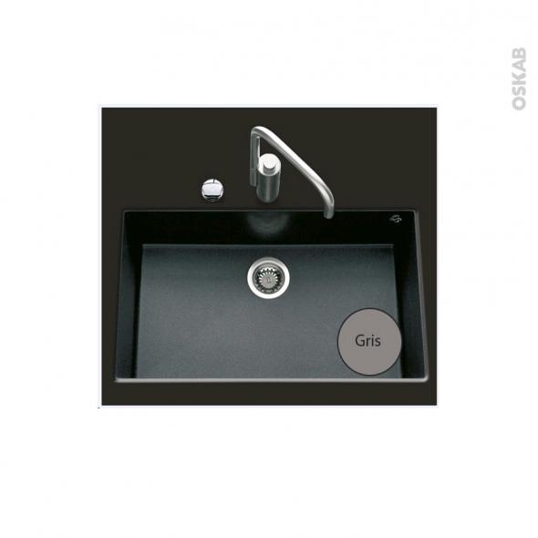 Evier de cuisine - GARDA - Granit gris - 1 cuve carré 76 x 44 cm - Sous plan