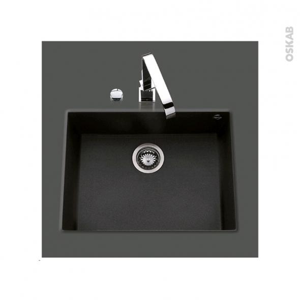 Evier de cuisine - GARDA - Granit noir - 1 cuve carré 58 x 44 cm - Sous plan
