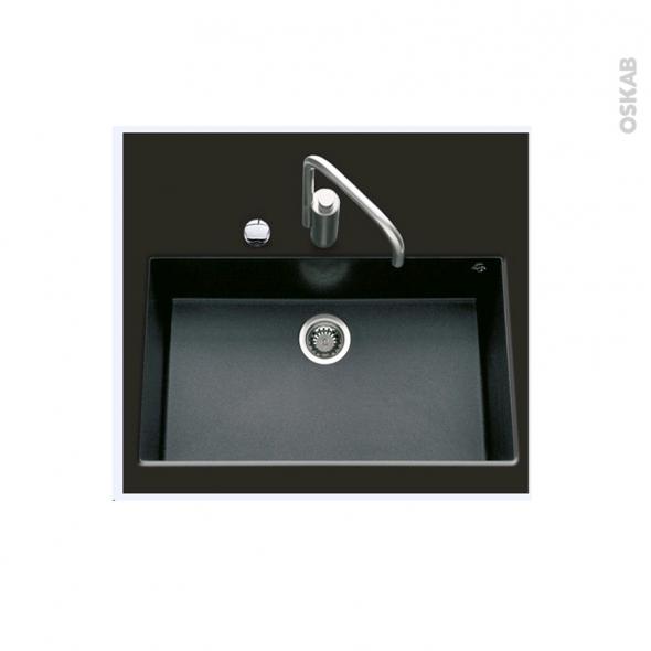 Evier de cuisine - GARDA - Granit noir - 1 cuve carré 76 x 44 cm - Sous plan