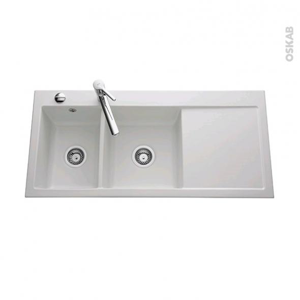 Evier de cuisine - INARI - Céramique blanc - 2 bacs égouttoir droite - à encastrer