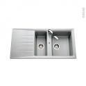Evier de cuisine - NEMI - Résine aluminium - 1 bac 1/2 égouttoir - à encastrer