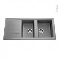 Evier de cuisine - NEMI - Résine aluminium - 2 bacs égouttoir - à encastrer