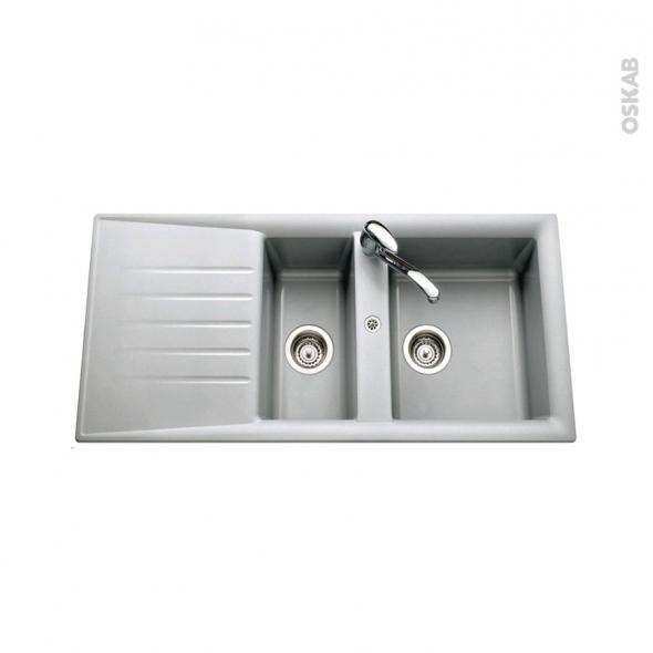 Evier NEMI - Résine Aluminium - 1 bac 1/2 égouttoir - à encastrer