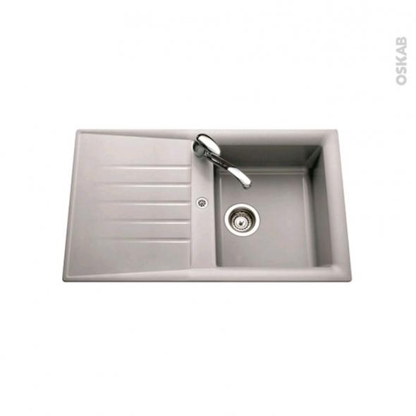 Evier de cuisine - NEMI - Résine aluminium - 1 bac égouttoir - à encastrer