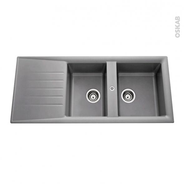 Evier De Cuisine Nemi Résine Aluminium 2 Bacs égouttoir à Encastrer