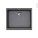 Evier de cuisine - NOCTURNE - Granit gris - 1 cuve carré 55,6 x 45,6 cm - Sous plan