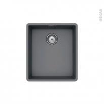 Evier de cuisine - NOCTURNE - Granit gris - 1 cuve carré 40,6 x 45,6 cm - Sous plan