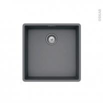Evier de cuisine - NOCTURNE - Granit gris - 1 cuve carré 45,6 x 45,6 cm - Sous plan