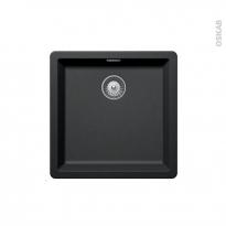 Evier de cuisine - NOCTURNE - Granit noir - 1 cuve carré 45,6 x 45,6 cm - Sous plan