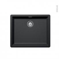 Evier de cuisine - NOCTURNE - Granit noir - 1 cuve carré 55,6 x 45,6 cm - Sous plan