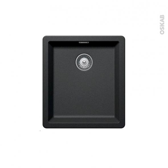 Evier de cuisine - NOCTURNE - Granit noir - 1 cuve carré 40,6 x 45,6 cm - Sous plan
