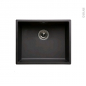 Evier de cuisine - OLEGA - Résine noir - 1 cuve carré 54 x 44 cm - à encastrer