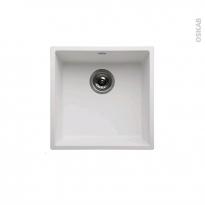 Evier de cuisine - OLEGA - Résine blanc - 1 cuve carré 44 x 44 cm - Sous plan