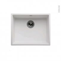 Evier de cuisine - OLEGA - Résine blanc - 1 cuve carré 54 x 44 cm - Sous plan