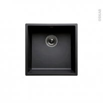 Evier de cuisine - OLEGA - Résine noir - 1 cuve carré 44 x 44 cm - Sous plan