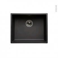 Evier de cuisine - OLEGA - Résine noir - 1 cuve carré 54 x 44 cm - Sous plan