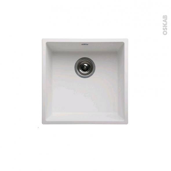 Evier de cuisine - OLEGA - Résine blanc - 1 cuve carré 44 x 44 cm - à encastrer