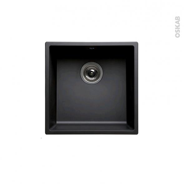 Evier de cuisine - OLEGA - Résine noir - 1 cuve carré 44 x 44 cm - à encastrer