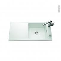 Evier de cuisine - SECRET - Céramique blanc mat - 1 grand bac égouttoir - à encastrer