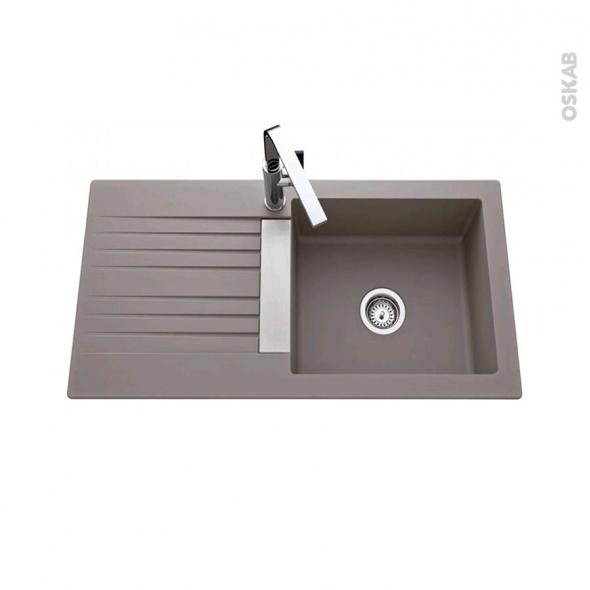 Evier de cuisine - SOLAIRE - Résine béton - 1 grand bac égouttoir - à encastrer