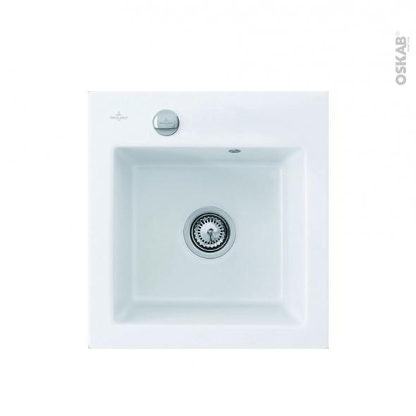 Evier de cuisine - SUBWAY - Céramique blanc - 1 cuve carrée 47 x 51 cm - à encastrer