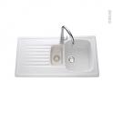 Evier de cuisine - TARGA - Céramique blanc - 1 bac 1/2 égouttoir - à encastrer - VILLEROY & BOCH