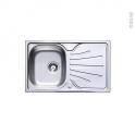 Evier de cuisine - APIRO - Inox lisse - 1 bac égouttoir - à encastrer - ASTRACAST