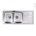 Evier de cuisine - APIRO - Inox lisse - 2 bacs égouttoir - à encastrer - ASTRACAST